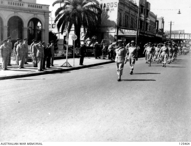 Second Army Headquarters taking part in a Victory Loan March. Parramatta 1945