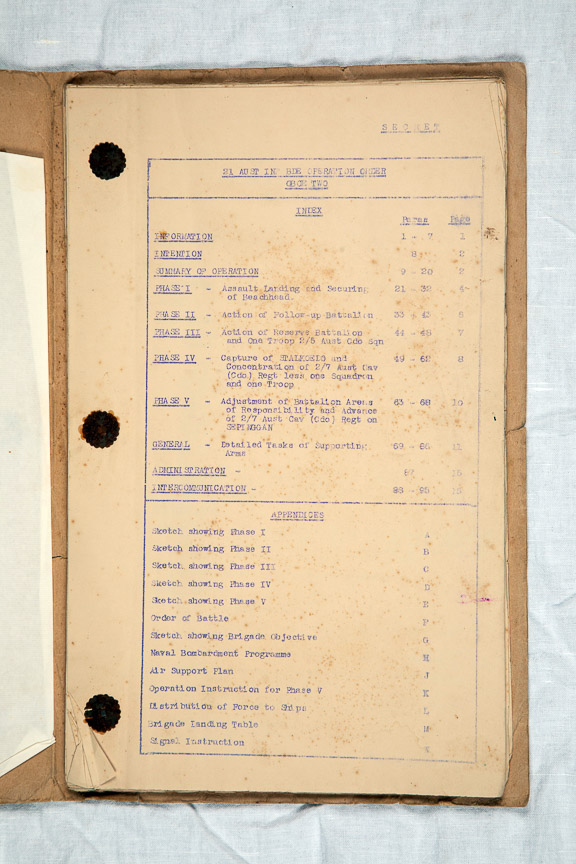Operation order for Oboe 2 - Lancers Memorial Museum