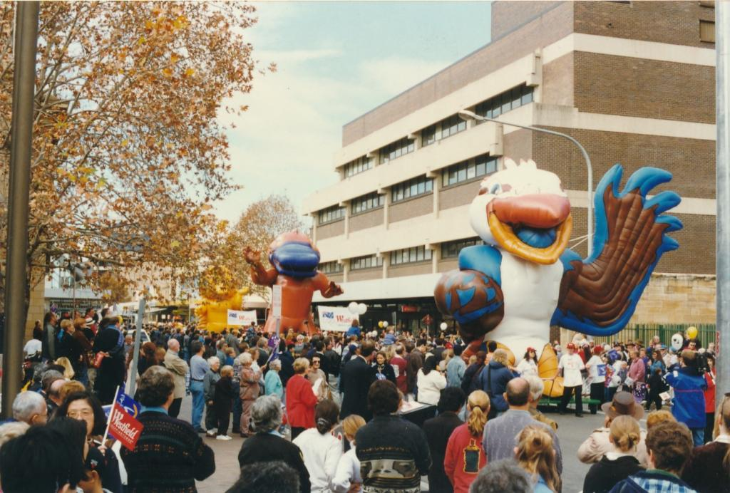 PRS118_089_002: Sydney 2000 Mascots at the Olympic Journey Parade in Parramatta, 1997 (City of Parramatta Council Archives)