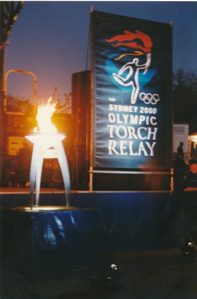 PRS118_104_001: Sydney Olympics Cauldron alight in Parramatta, 2000 (City of Parramatta Council Archives)