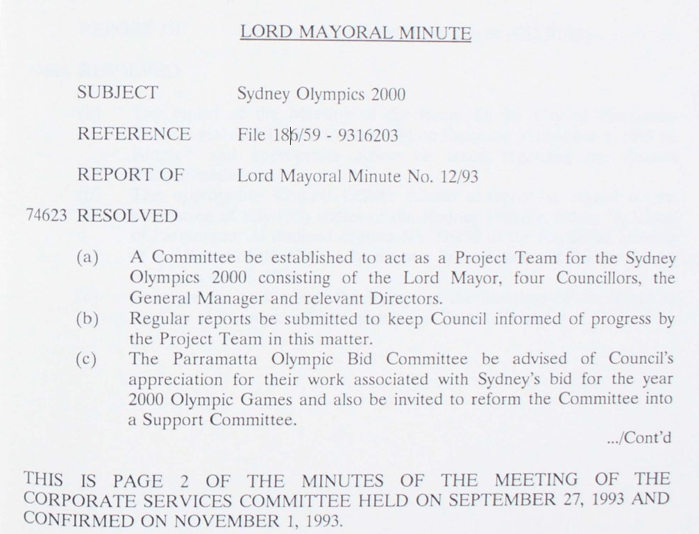 Lord Mayoral Minute
