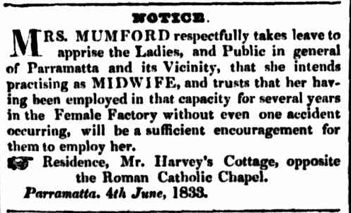 Mary Mumford – Female Factory Midwife