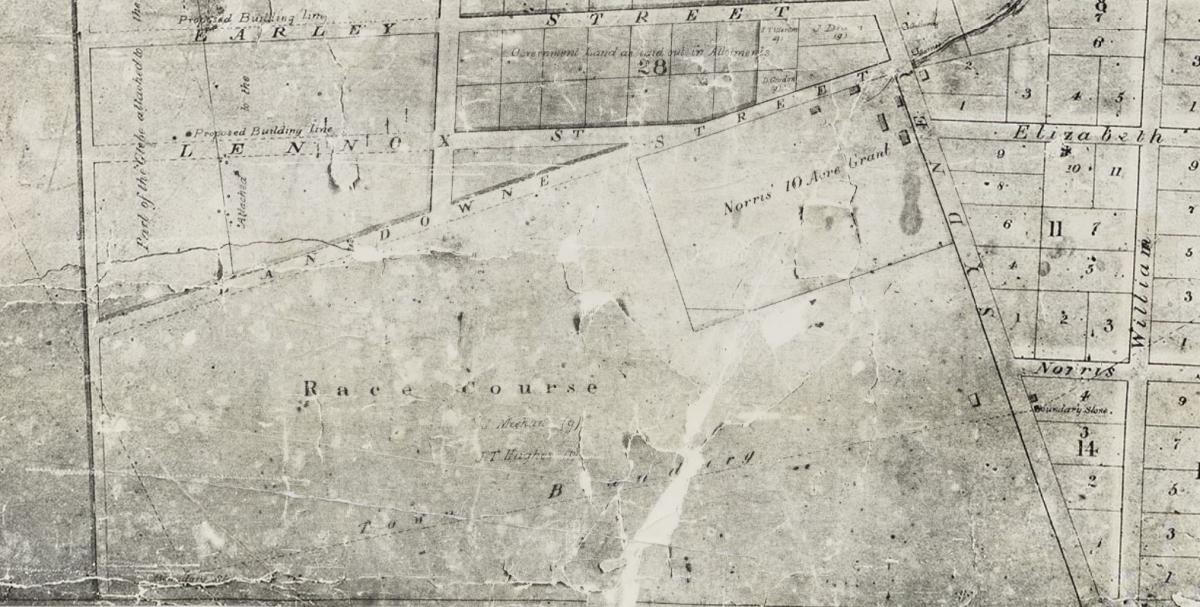 Enlarged image of Rosehill racecourse (Source: Brownrigg, 1844 via State Library of NSW, a3705001)