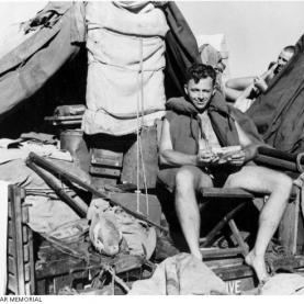 Private Thomas Costello at sea, 1945. Source: Australian War Memorial 018622