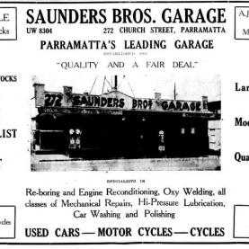 Advertisement for Saunders Bros. Garage, Church Street Parramatta