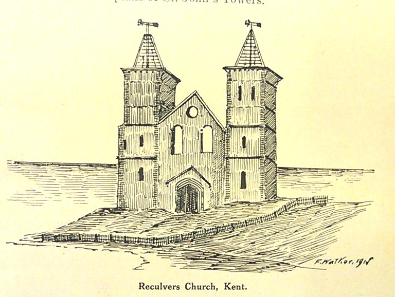 Reculver's Church, Kent, from publication Centenary Celebration's, Anglican Church, Australia, 1913, Heritage Centre Collections, Parramatta Council