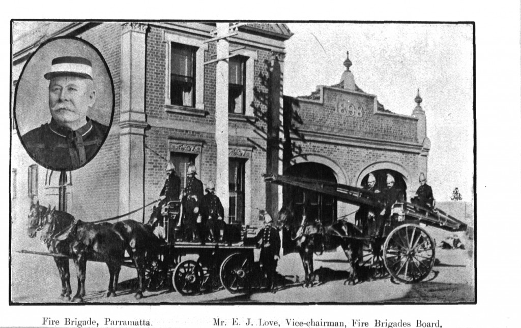 The Parramatta Volunteer Fire Brigade, about 1905, insert portrait of Mr E J Love, copy from photo-mechanical print in the publication Beautiful Parramatta, 1905