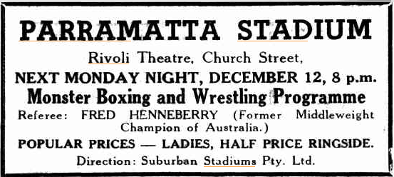 Advertisement for Boxing at the Parramatta Stadium The Cumberland Argus and Fruitgrowers Advocate 7 December 1949