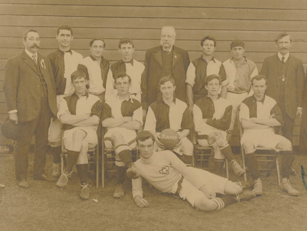 Granville and District Football Club, 1912. John Nobbs' distinctive figure at the centre of the top row. The goal-keeper laying on the ground is Eric Mobbs, who later became Mayor of Dundas and Parramatta. Parramatta Heritage Centre, Granville and District Football Association Collection