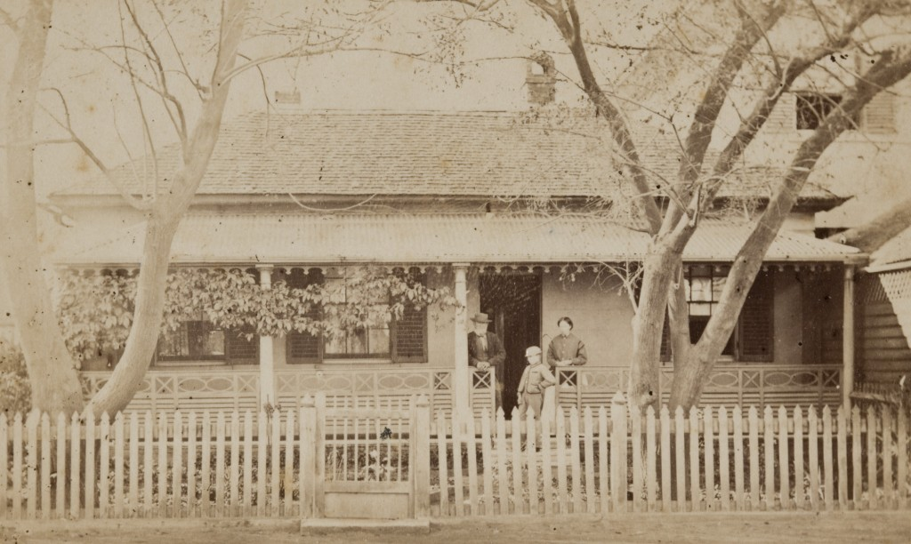 Hugh Taylor with wife and son at their house in Church Street Parramatta, 1870 - Historic Houses Trust