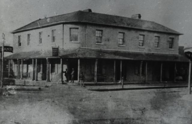 Australian Arms Hotel, corner of George and Church Streets, Parramatta, view of front exterior of two storey building, ca. 1870s - 1880s. Local Studies Photograph Collection/Local Studies Library LSOP 1027