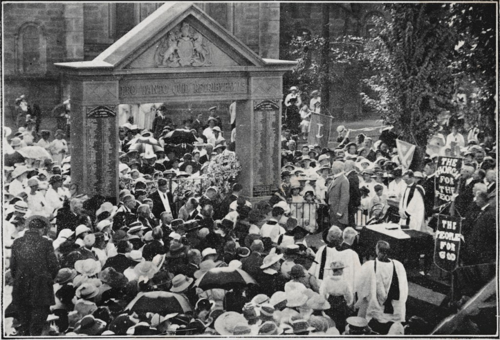 The Gate Unveiled. Relatives of the Soldiers in the foreground
