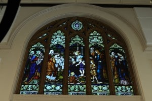 J. Ritchie stained glass window, St Andrew's Uniting Church. Currently Bavarian Bier Café, Parramatta. Photo: Caroline Finlay, January 2015.