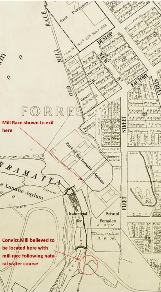 1904 map of Parramatta showing mill race in relation to Asylum and streets, and the site where the mill was believed to have been located