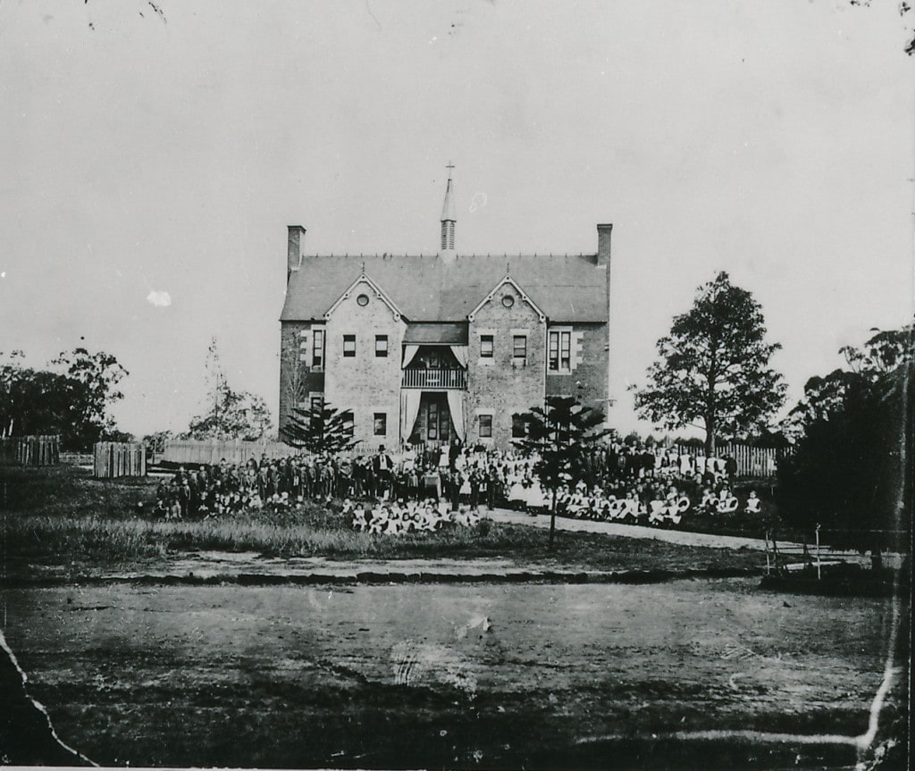 Children and staff assembled in fron of the hospital. 1877. ACC002/34/23. Parramatta Heritage Centre