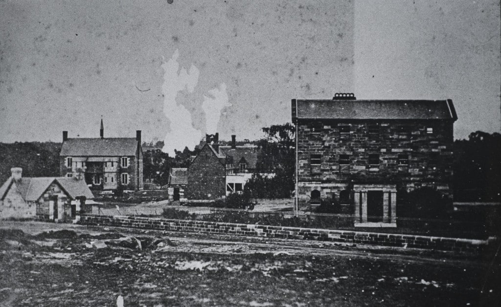 View of the orphanage from the stone quarry in Fleet Street c.1865. Note the infirmary wing in the background without the projecting gables to lavatory wings. Local Studies Photograph Collection LSP00190
