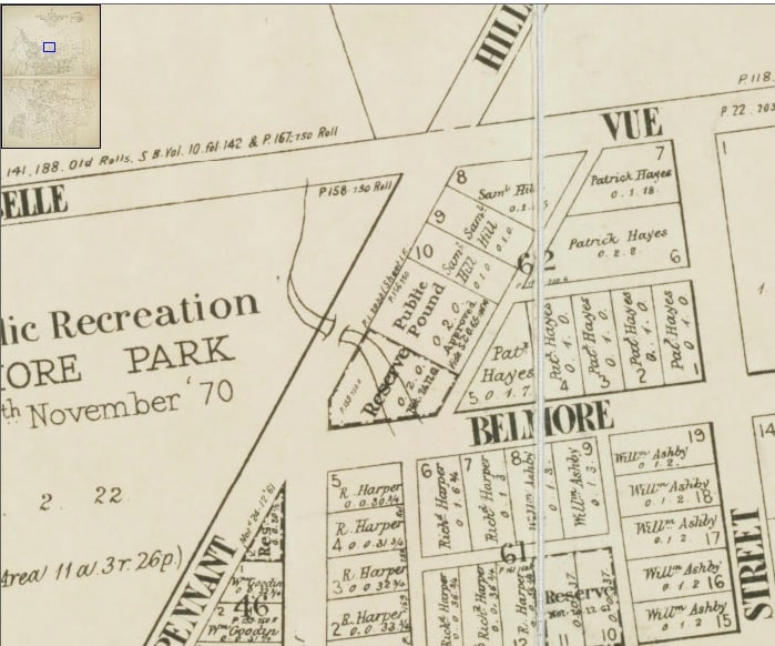 Location of Parramatta Public Pound on Pennant Hills Road. Map of Parramatta 1904