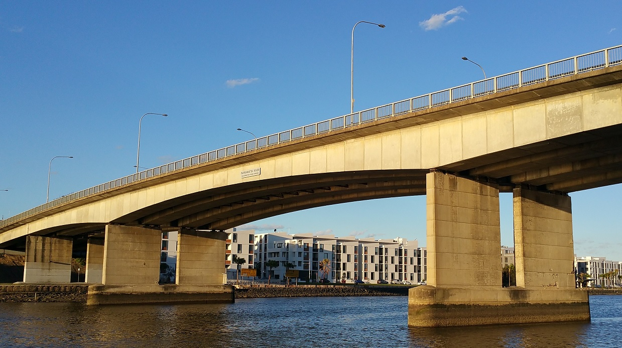 Silverwater Bridge from the western side looking towards Ermington. Photo taken by Anne Tsang, 18 October 2016