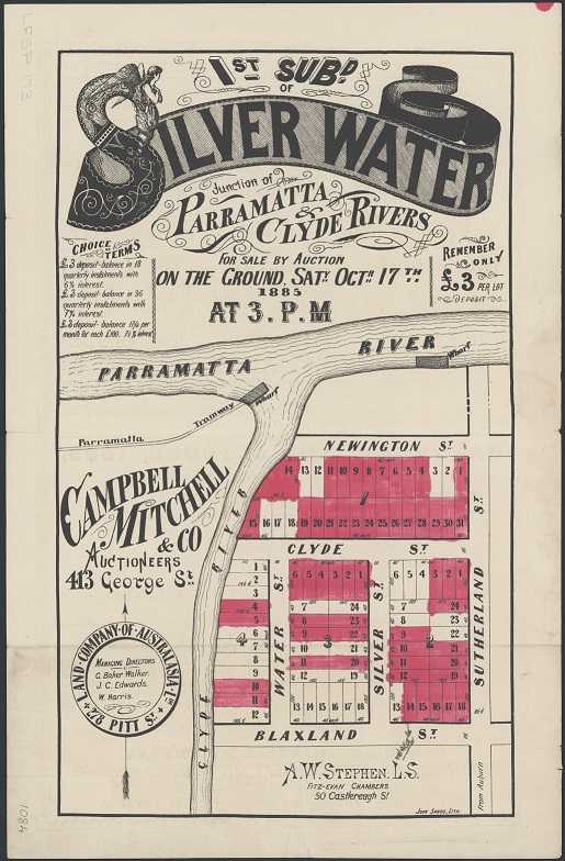 Campbell, Mitchell & Co.,1885, 1st subdivision of Silver Water, junction of Parramatta & Clyde Rivers for sale by auction on the ground Saturday October 17th at 3 p.m. Retrieved from National Library of Australia http://nla.gov.au/nla.obj-230085044/view