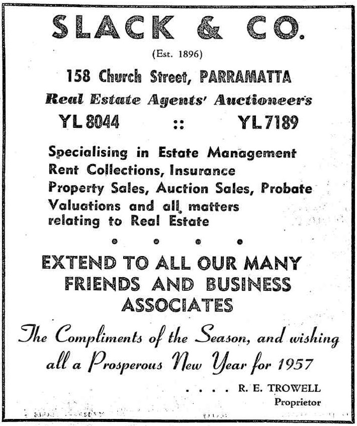 Slack & Co. advertisement. (Source: The Cumberland Argus, 5 December 1956, p. 1 Cumberland Argus Christmas supplement)