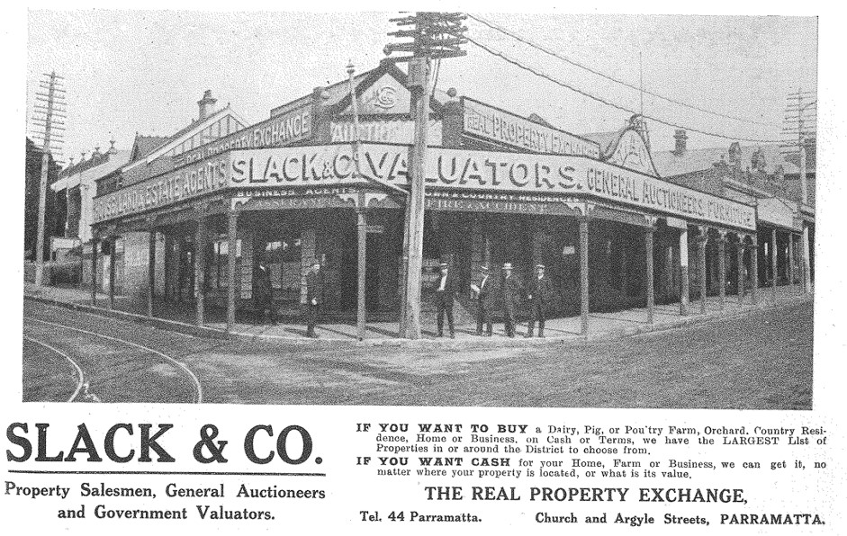 Image of Slack & Co. in an early advertisement (Source: The Jubilee History of Parramatta, 1911, p. 185)