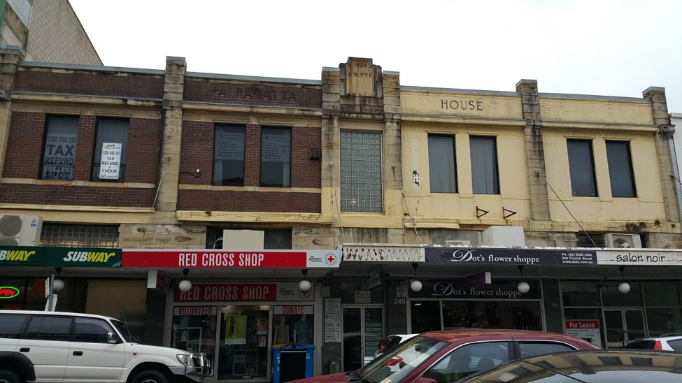 Photo of the former Vauxhall Chambers, 243-253 Church Street, Parramatta. Photo taken by Anne Tsang, 2017