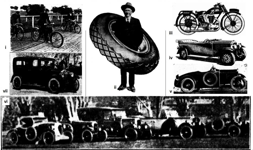 "Clockwise (top left) (i)'The Rivals' bicycle; (centre) (ii) Mr Harold Oliver Saunders; (top right) (iii)1929 A.J.S. Motor cycle; (iv)1929 ""Silver Anniversary"" Buick; (v) 8 horse-power Single Super Sports Junior, (bottom) (vi) a range of Singer cars on parade at Messrs. Saunders Church Street, Parramatta; (left) (vii) six-cylinder seven passenger Buick Sedan (Source: The Cumberland Argus and Fruitgrowers Advocate)[7]"